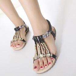 Shoespie Exotic Rhinestones Flat Sandals