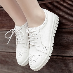 Shoespie White Brogue Patterns Lace Up Sneakers