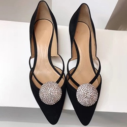 Shoespie Chic Black Round Embellished Kitten Heels