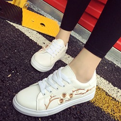 Shoespie Blossom Embroidery Lace Up Sneakers(One Size Smaller Then The Natural Size)