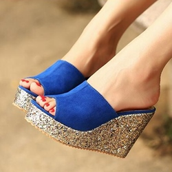 Shoespie Multi Color Sequined Wedge Mules