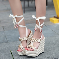 Shoespie Cute Multi Wear Lace Up Wedge Sandals
