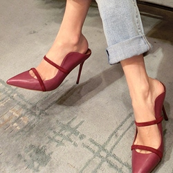 Shoespie Elegant Plain Curve Tab Backless Stiletto Heels