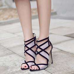 Shoespie Mesh Cutout Heel Dress Sandals