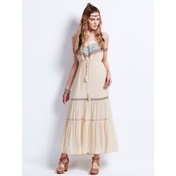 Strapless Geometric Pattern Embroidery Maxi Dress