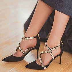 Shoespie Luxurious Rhinestone Appliqued Stiletto Heels