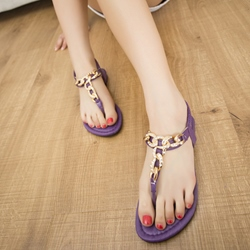 Shoespie Round Link Chain Thong Flat Sandals