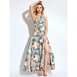 Halter Flower Print Maxi Dress
