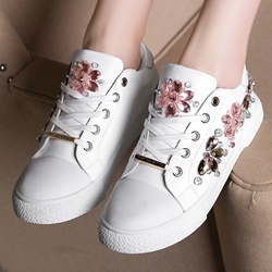Shoespie Super Cute Beading White Sneakers