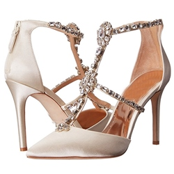 Shoespie Luxurious Satin Rhinestone Strap Stiletto Heels