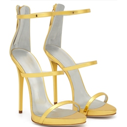 Shoespie Golden Strappy Heel Dress Sandals