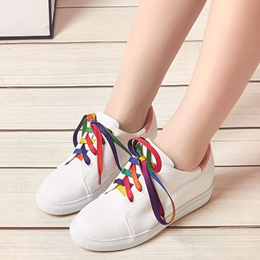Shoespie Rainbow Shoe Lace White Sneakers