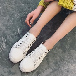 Shoespie Pu Threading Lace Up White Sneakers