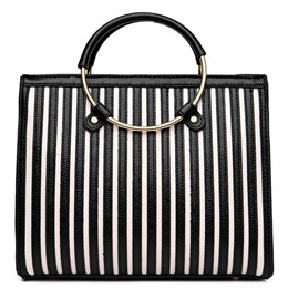Shoespie Two Tone Stripes Chic Tote Bag