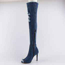 Shoespie Stylish Distressed Thigh High Stiletto Denim Boots