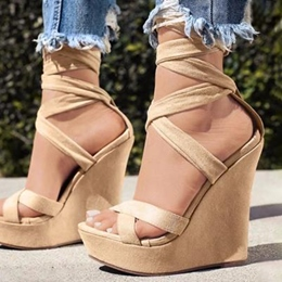 Shoespie Suede Strappy Lace Up Wedge Sandals