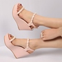 Shoespie Pearls Decorated Wedge Sandals