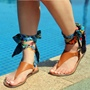 Shoespie Summer Holiday Ribbon Lace Up Thong Sandals