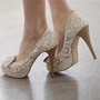Shoespie Vintage Lace Inset Platform Bridal Shoes