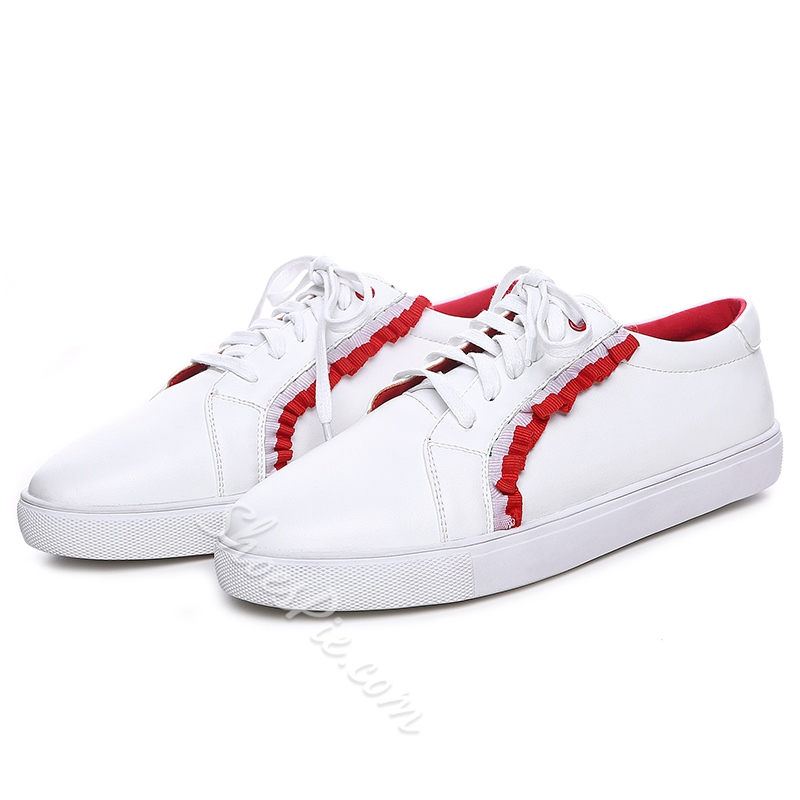Shoespie Cute Riffles Lace Up Sneakers
