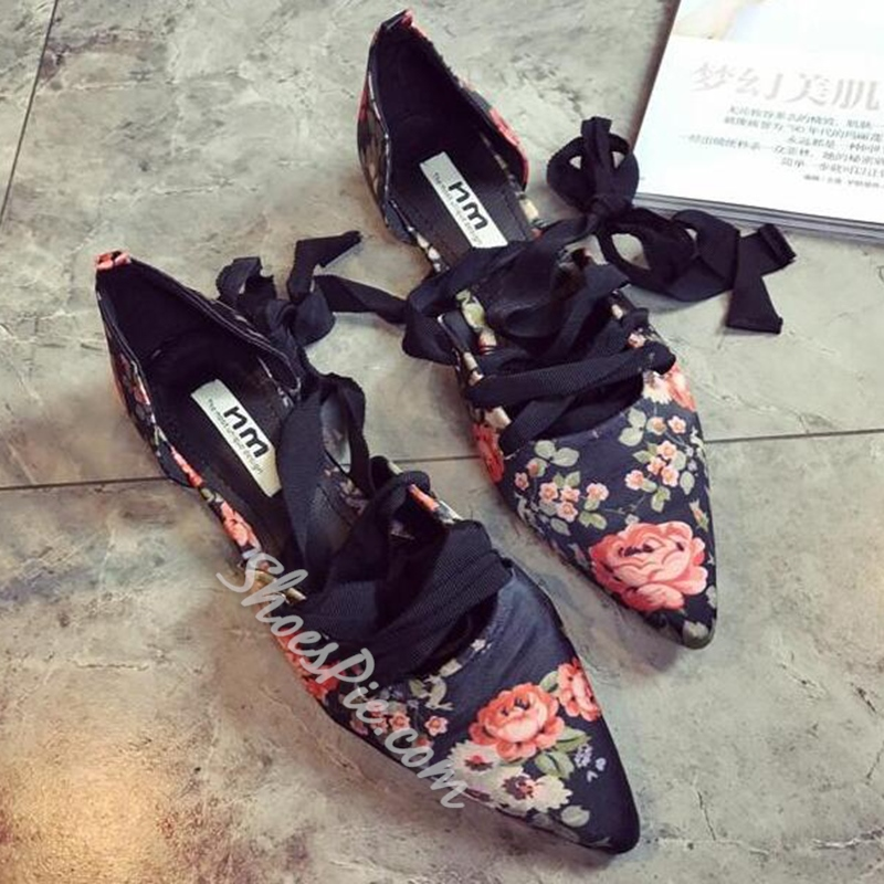 Shoespie Spring Flower Print Lace Up Flats