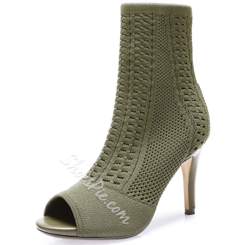 Shoespie Fashion Knitting Cut Out Stiletto Booties