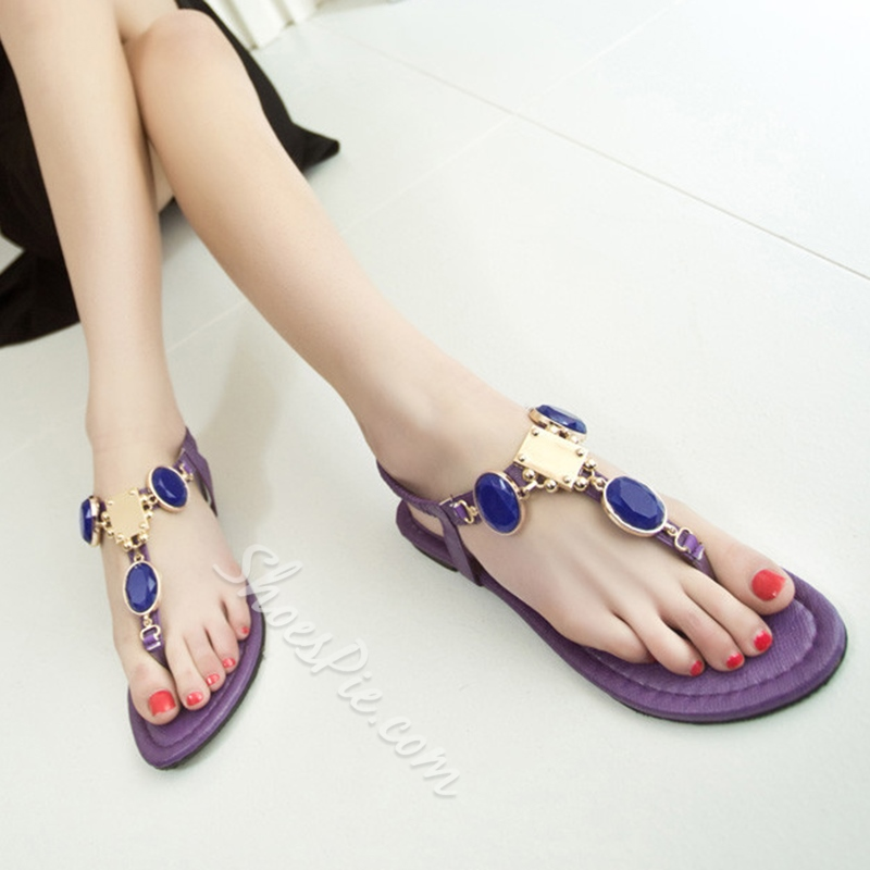 Shoespie Color Stones Decorated Thong Flat Sandals