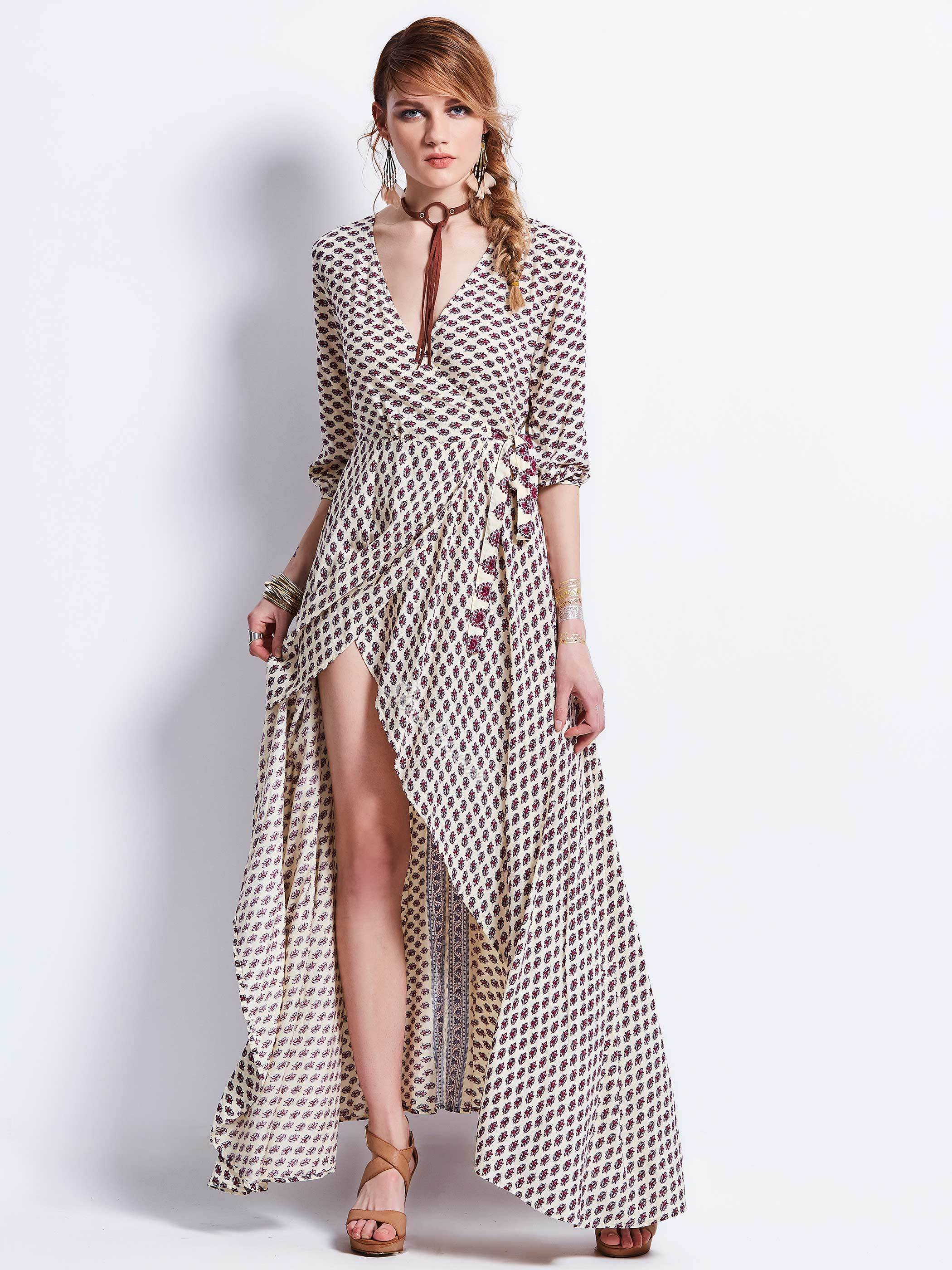 V-Neck High-Waist Geometric Pattern Asymmetric Maxi Dress