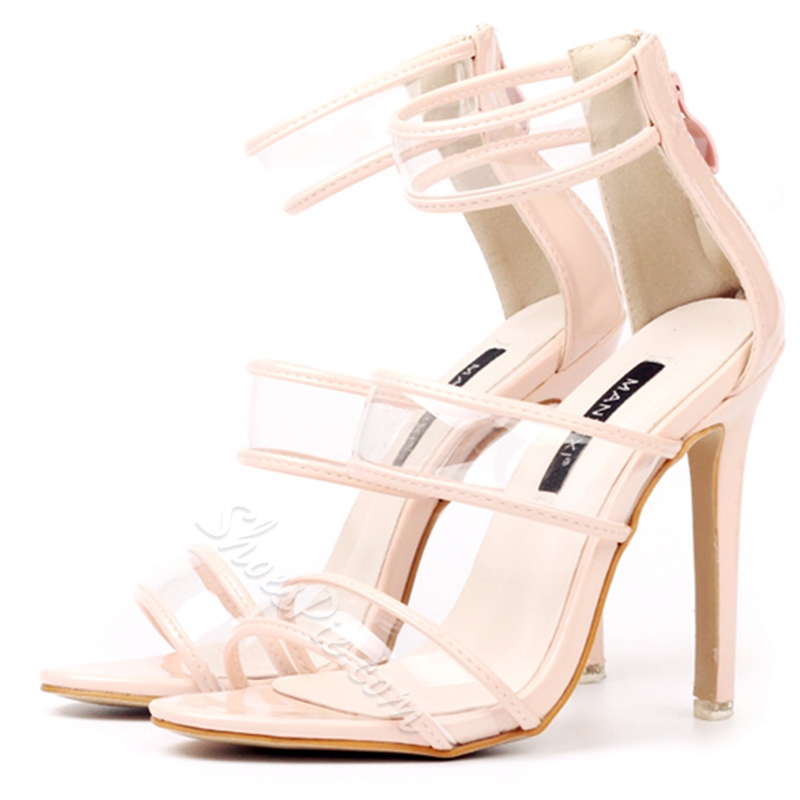 Shoespie Clear Strappy Back Zipped Dress Sandals