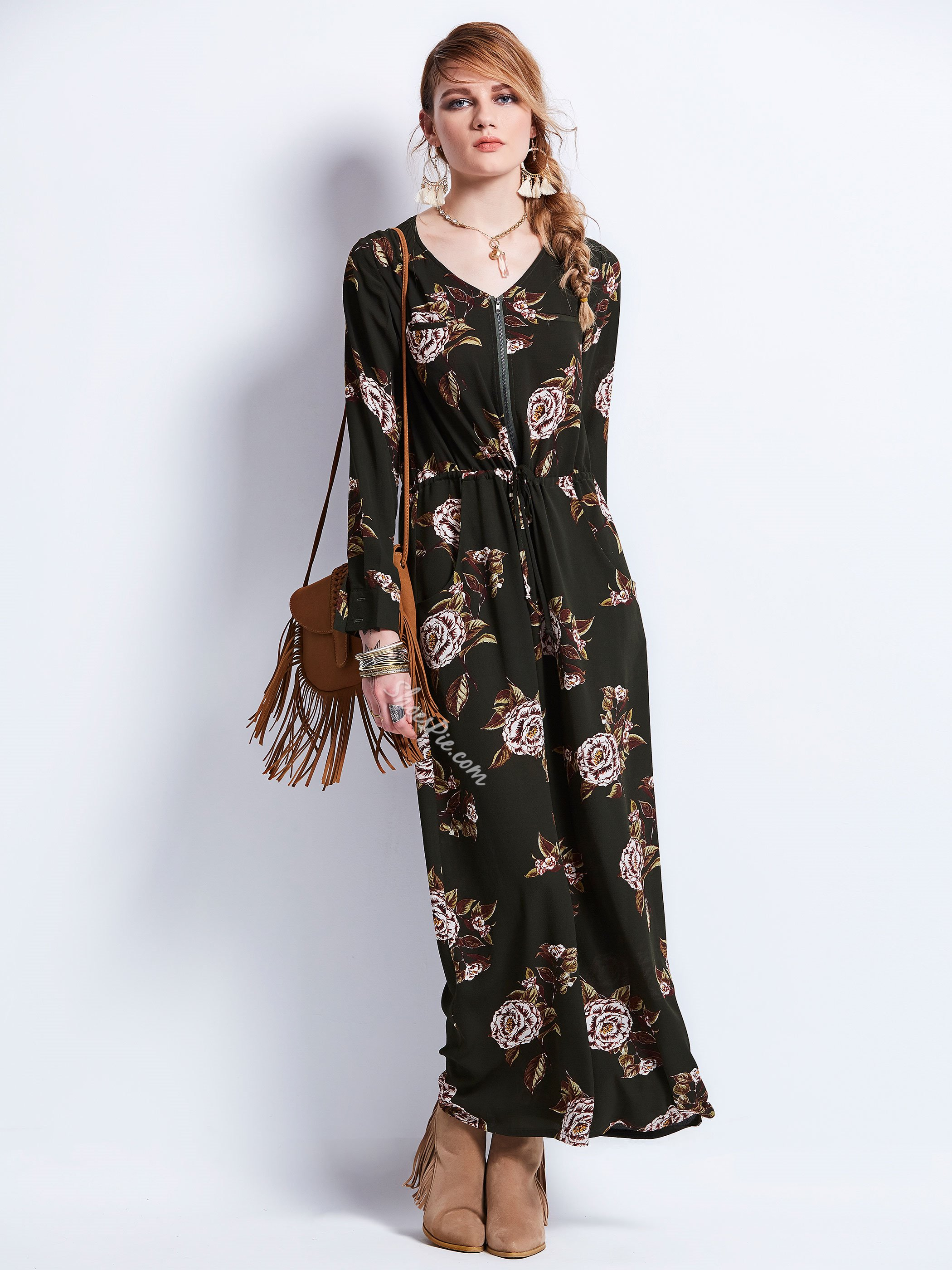 V-Neck Zipper Flower Print Women's Maxi Dress