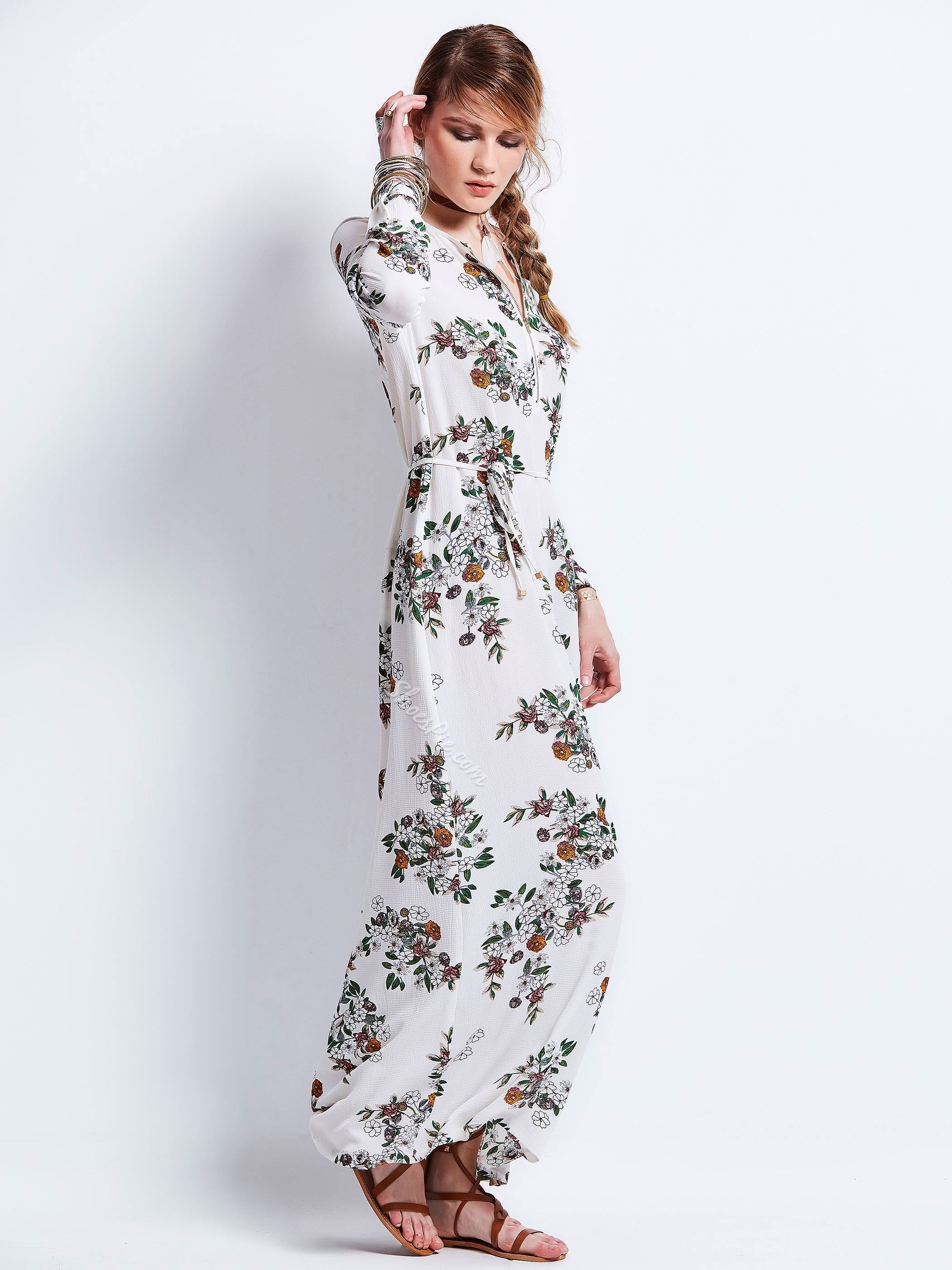Round Neck Flower Print Zipper Maxi Dress