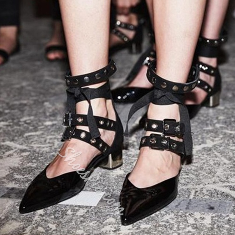 Shoespie Stylish Punk Style Lace Up Block Heels