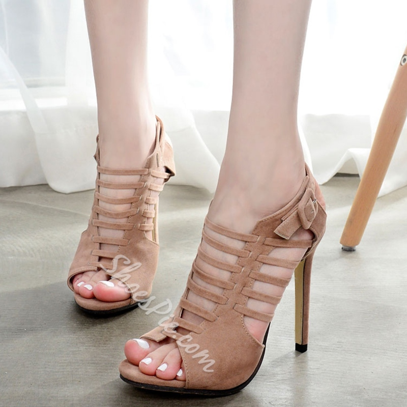Shoespie Stylish Plain Caged Stiletto Heels
