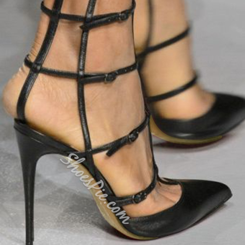 Shoespie Black Strap Caged Stiletto Heels