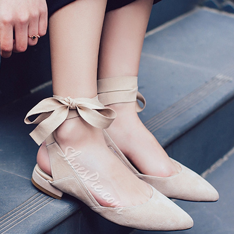 Shoespie New Arrival Solid Color Lace Up Flats