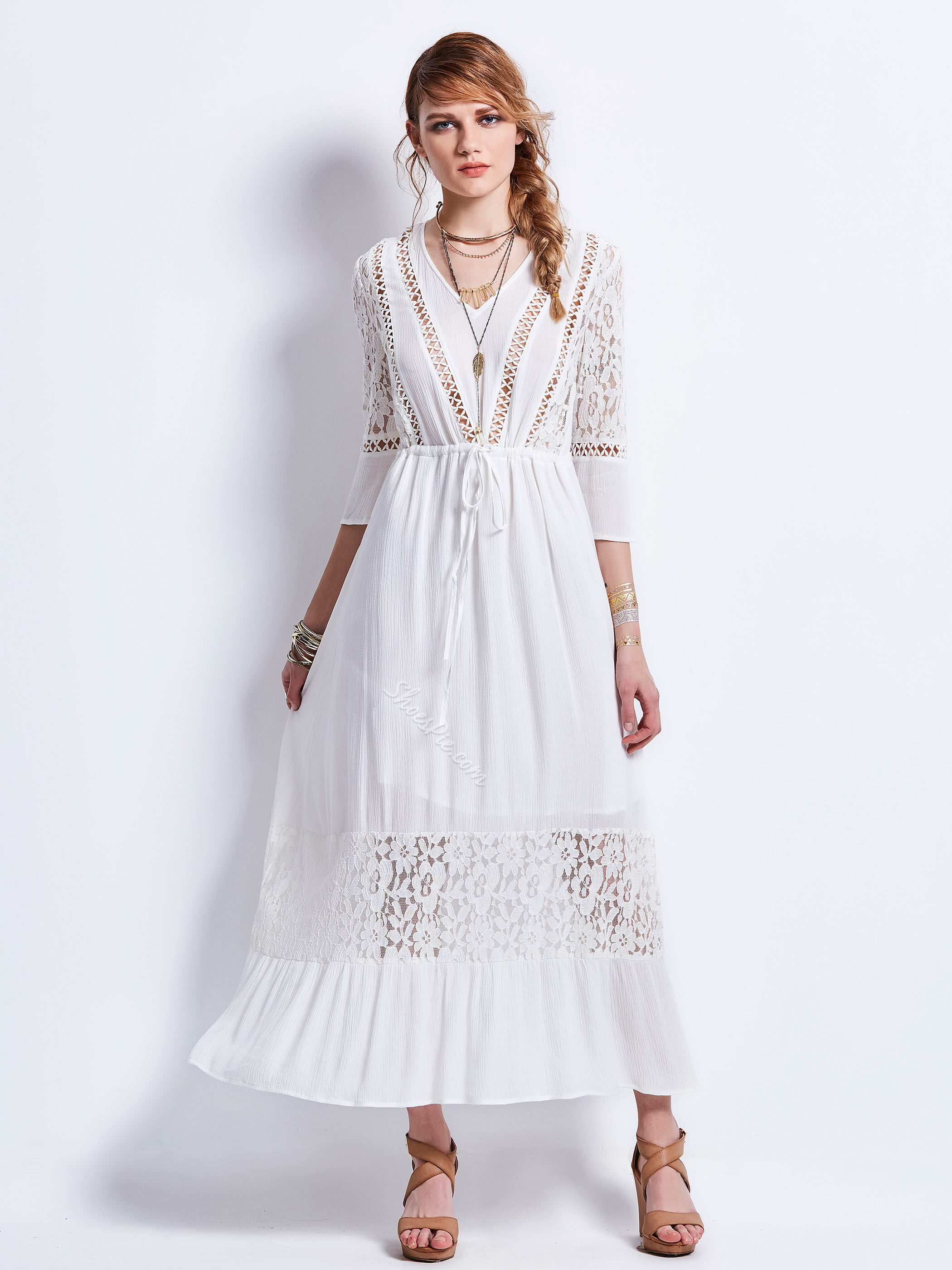 Drawstring Lace Patchwork Hollow Women's Maxi Dress