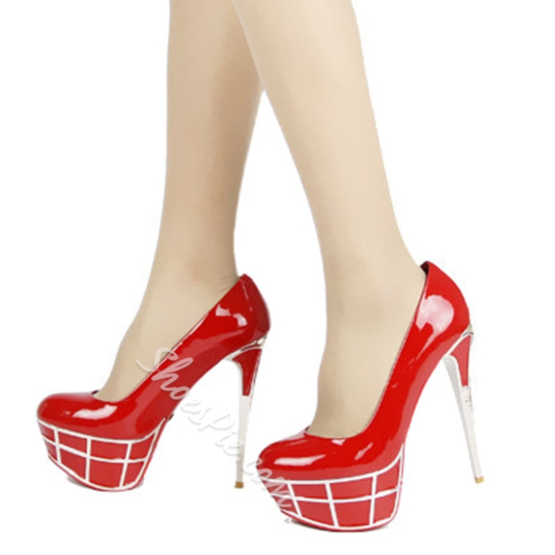 Shoespie Gorgeous Red Day to Night Platform Heels