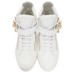 Shoespie Zippers Decorated White Sneakers