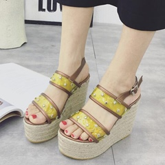Shoespie Yellow Stars Brown Trim Wedge Sandals