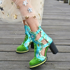 Shoespie Design Exotic Style Chunky Heel Booties
