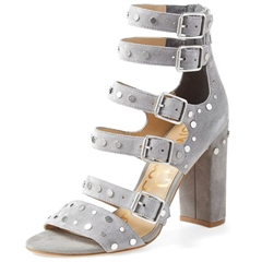 Shoespie Gray Faux Suede Buckles Strappy Chunky Heel Sandals
