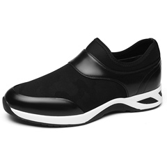 Shoespie Black Leather Slip-On Patchwork Men's Sneakers