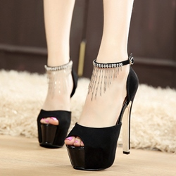 Shoespie Sequined Solid Black Platform Heels