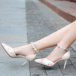 Shoespie Vintage Flower Embroidered Ankle Wrap Stiletto Heels