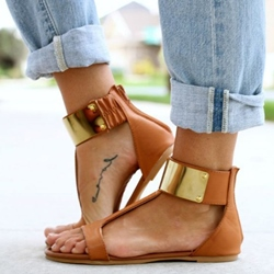Shoespie Open Toe Wide T Straps Flat Sandals