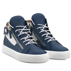 Shoespie Navy Blue Side Zipped Lace Up Men's Sneakers