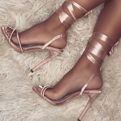 Shoespie Open Toe Lace-Up Stiletto Heel Sandals