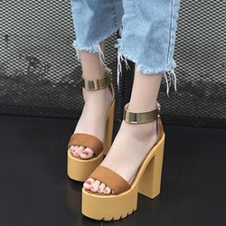 Shoespie Ankle Strap Rugged Platform Heel Sandals