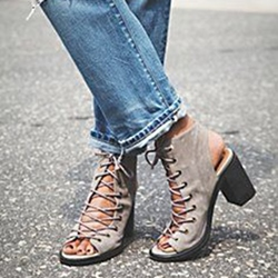 Shoespie Gray Lace Up Block Heel Sandals