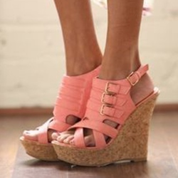 Shoespie Pink Buckles Platform Wedge Heel Sandals